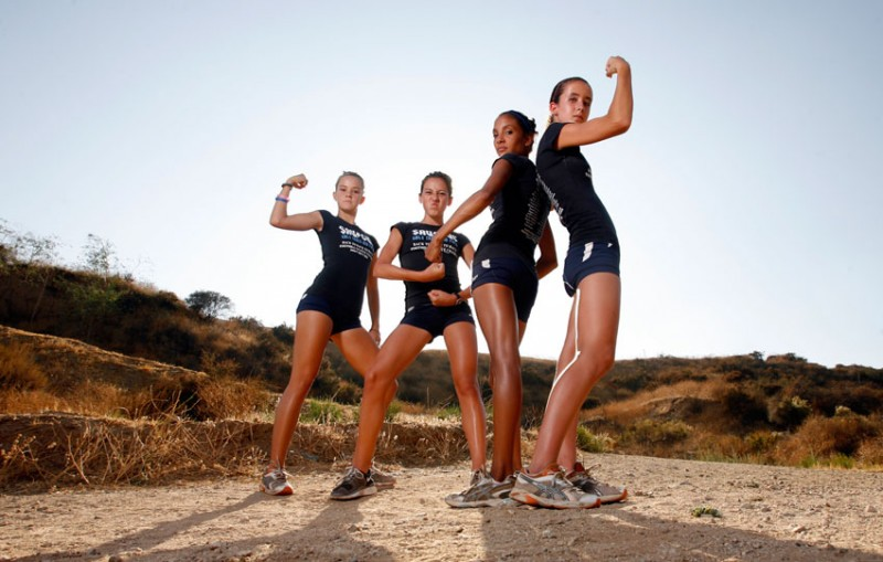 Saugus High School Girls Cross Country Team members Anne Randall Kaylin Mahoney, Brianna Jauregui, and Amber Murakami. (Hans Gutknecht/Daily News)