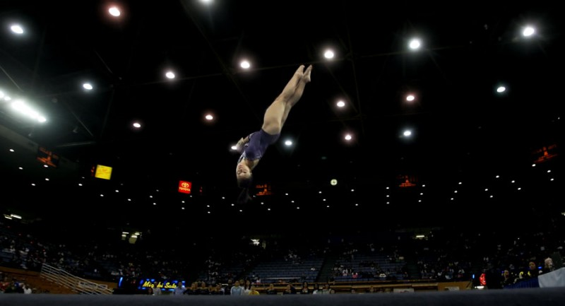 UCLA gymnasts compete in the floor exercise during their meet against Georgia Sunday, March 8, 2009 at UCLA's Pauley Pavilion. (Hans Gutknecht/Staff Photographer)