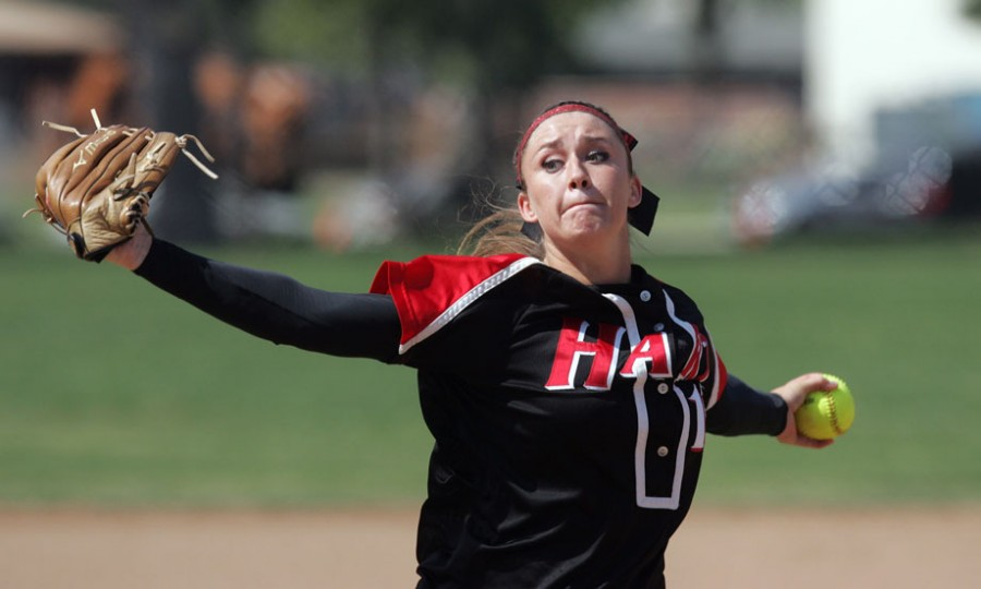 Hart High School's Destiny Rodino pitches during their softball game against Valencia High School at Hart High School in Newhall, CA Thursday, April 23, 2009. (Hans Gutknecht/Staff Photographer)