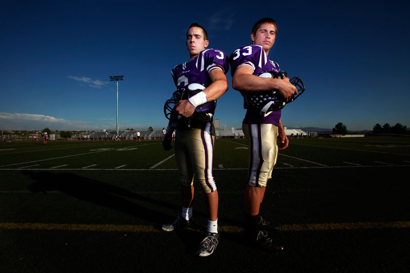 Valencia High School's quarterback Alex Bishop and runningback Steven Manfro. (Hans Gutkencht/LA Daily News)