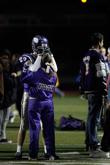 Valencia High School football players show their emotions after loosing to Moorpark High School in their CIF semi-final playoff football game at Valencia in Santa Clarita. (Hans Gutknecht/LA Daily News)