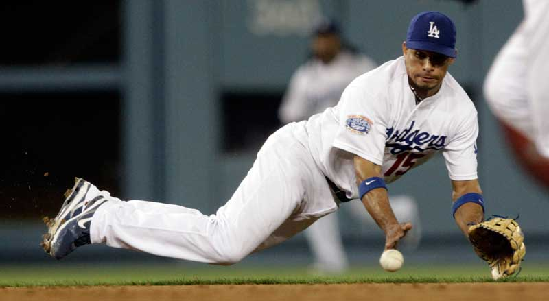 Los Angeles Dodgers shortstop Rafael Furcal #15 makes the stop on a Los Angeles Angels Maicer Izturis #13 ground ball in the 6th innning during their game at  Dodger Stadium Wednesday, June 11, 2010. (Hans Gutknecht/Staff Photographer)
