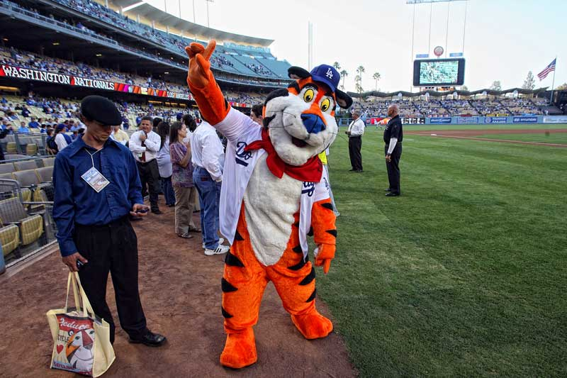 Tony the Tiger prepares to throw out the first pitch before the Los Angeles Dodgers vs the Washington Nationals game  at Dodger Stadium in Los Angeles Friday, August 6, 2010. (Hans Gutknecht/Staff Photographer)