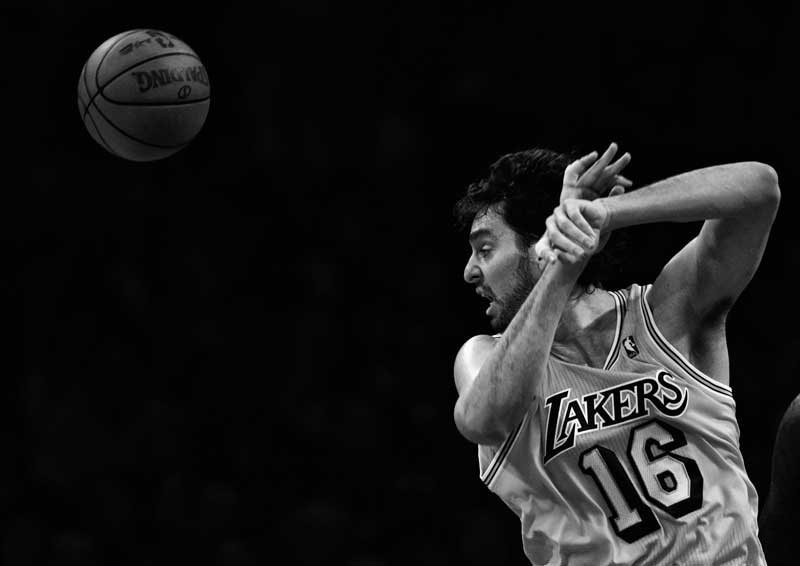 Los Angeles Lakers' Pau Gasol #16 comes up short on a rebound during their game against the Boston Celtics at the Staples Center in Los Angeles Sunday, January 30, 2011. The Celtics beat the Lakers 109-96. (Hans Gutknecht/Staff Photographer)