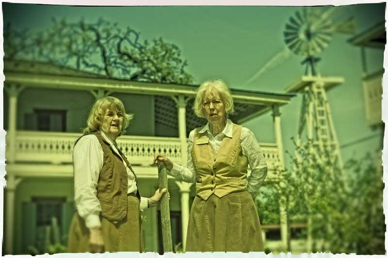 Docents Harriett Rozanski and Diane Tschekaloff at the Leonis Adobe Museum in Calabasas.